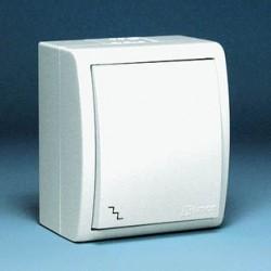 Выключатель одноклавишный проходной IP54 белый 1594201-030