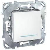 Выключатель одноклавишный с подсветкой Unica белый
