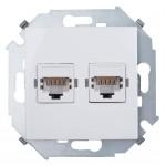 Розетка двойная компьютерная RJ45-45, Simon 1591593-030 белый