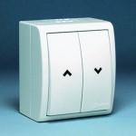 Выключатель кнопочный для управления жалюзи IP54 белый 1594332-030