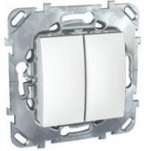 Выключатель двухклавишный Unica белый
