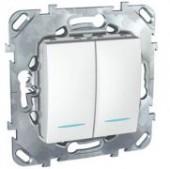Выключатель двухклавишный с подсветкой Unica белый