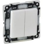 IP44 Влагозащищенный выключатель двойной Legrand Valena life 752155 белый