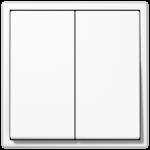 Проходной Двухклавишный выключатель белый  Jung LS990 арт.509U + LS995WW