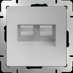Розетка сдвоенная компьютер/телефон RJ-45/RJ-11 Werkel серебряный