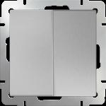 Двухклавишный проходной выключатель Werkel серебряный