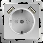 Розетка с заземлением с USB Werkel серебряный