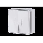Двухклавишный выключатель с подсветкой наружного монтажа Werkel Gallant белый